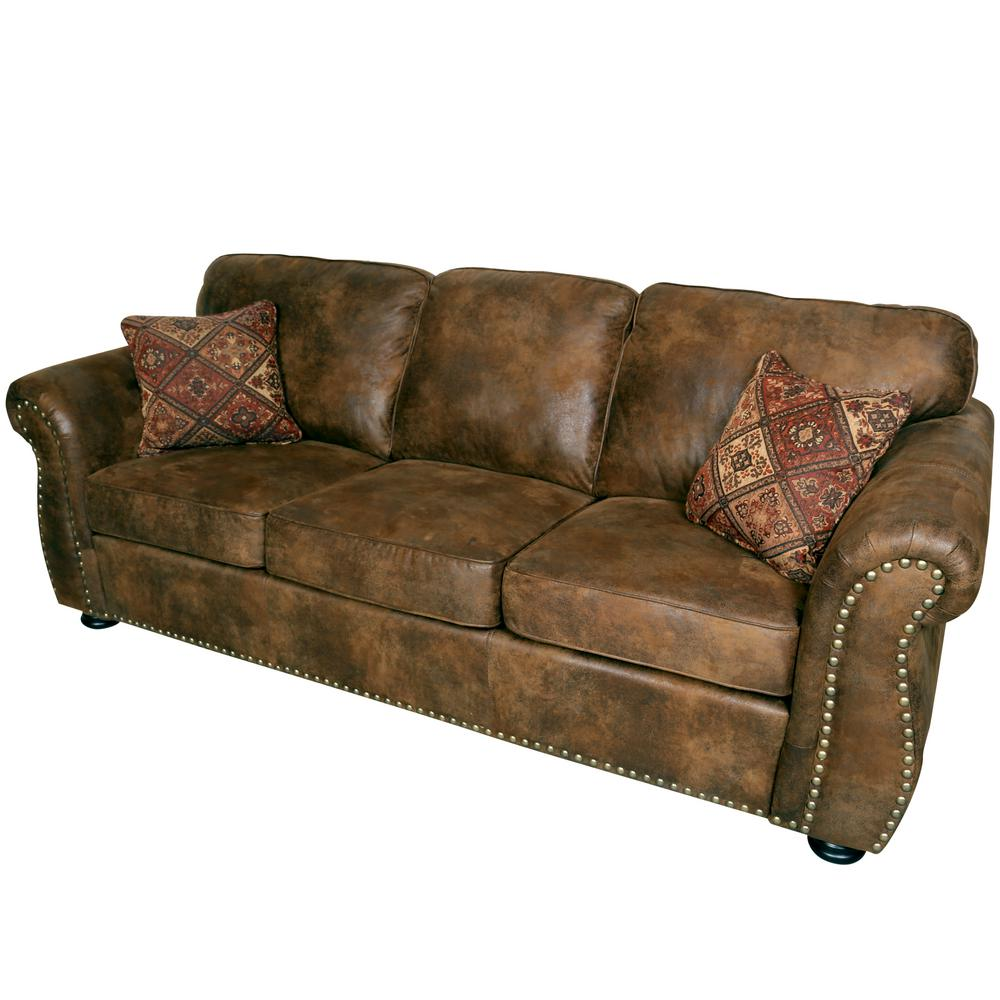 Just Furniture Almond & Brown Leather Look Sofa w/Chrome Legs