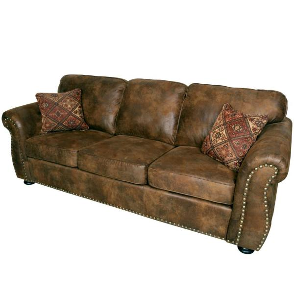 Elk River Brown Transitional Leather-Look with Nailhead Sofa 01-41C-01-975