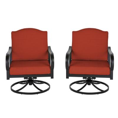 Laurel Oaks Brown Steel Outdoor Patio Lounge Chair with Cushion Guard Quarry Red Cushions (2-Pack)