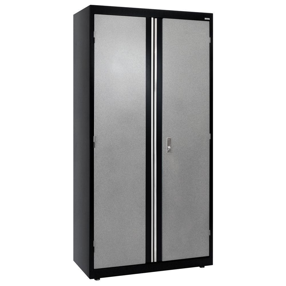 72 in. H x 36 in. W x 18 in. D Modular Steel Storage Cabinet Full Pull in Black/Multi-Granite