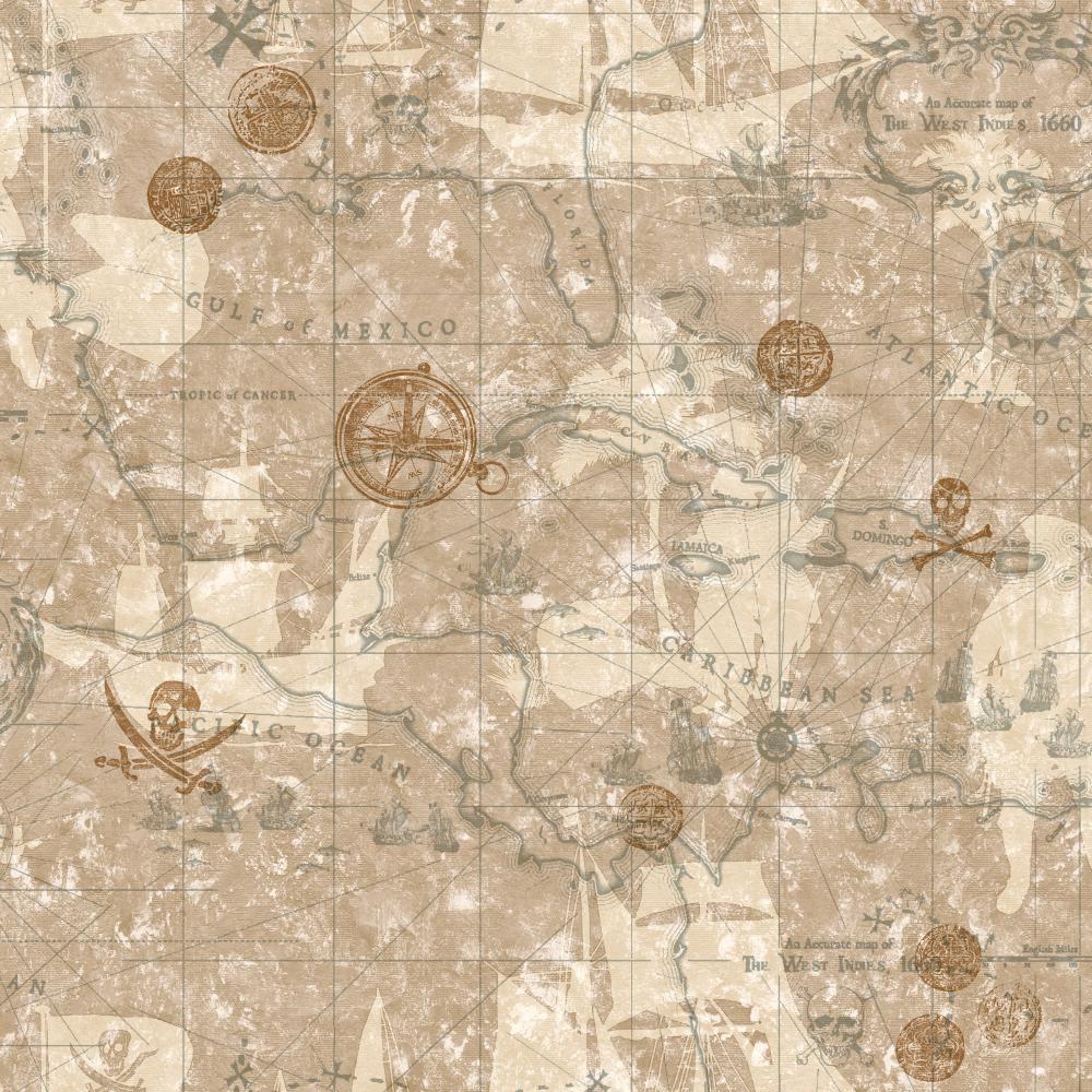 York Wallcoverings Pirate Map Wallpaper