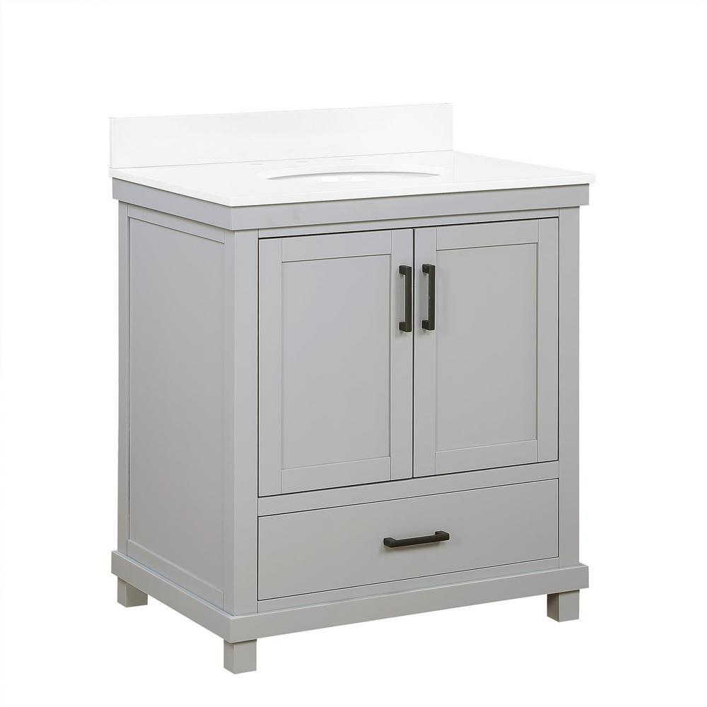 Rion 30 Inch Gray Bathroom Vanity with White Composite Granite Vanity Top, Ceramic Oval Sink and Backsplash