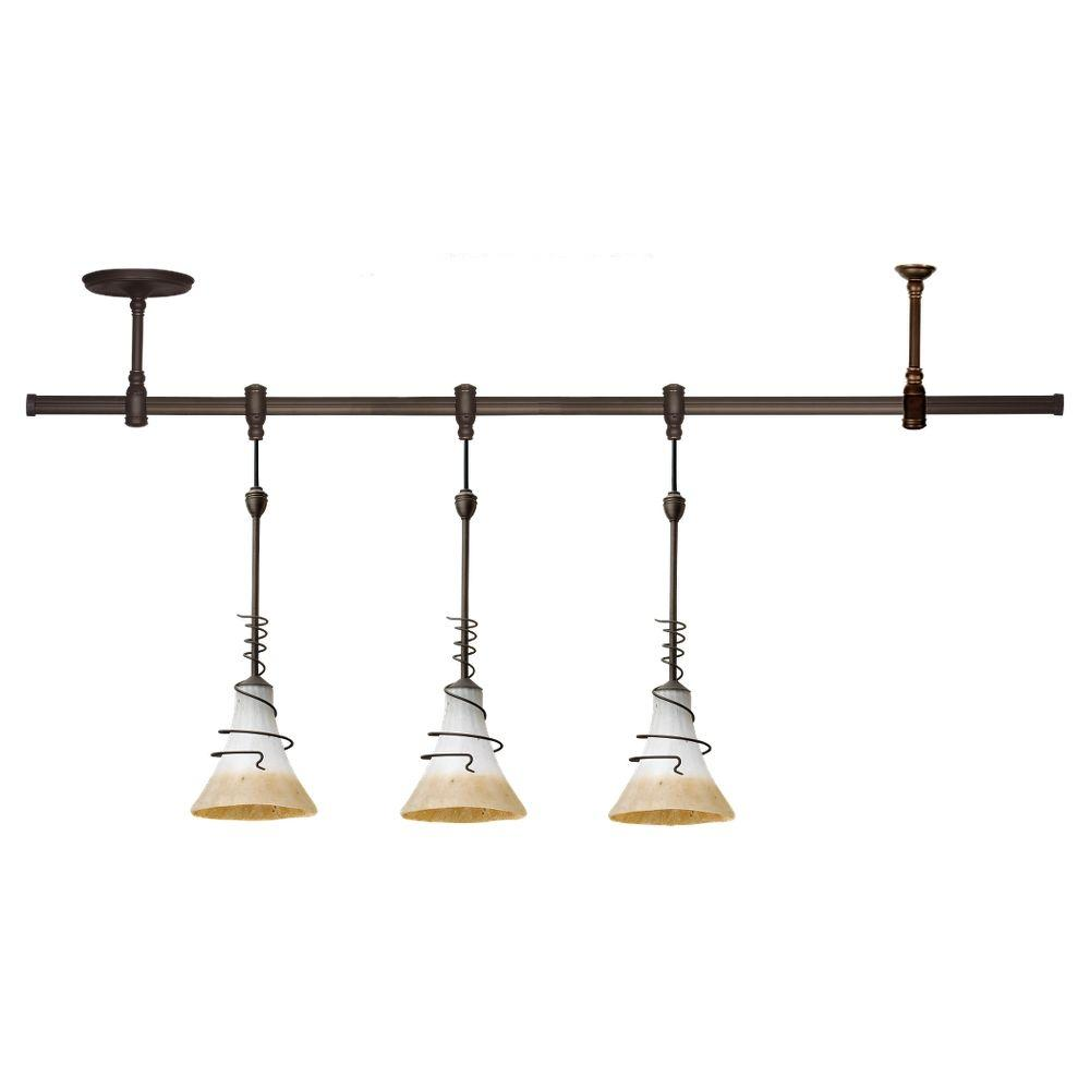 LBL Lighting Ambiance Transitions 3-Light Antique Bronze Pendant Track Lighting Kit with Ember Glow Shade