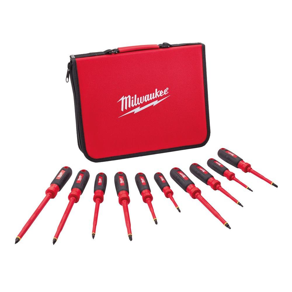 milwaukee 1000 volt insulated screwdriver set and case 10 piece 48 22 2210 the home depot. Black Bedroom Furniture Sets. Home Design Ideas
