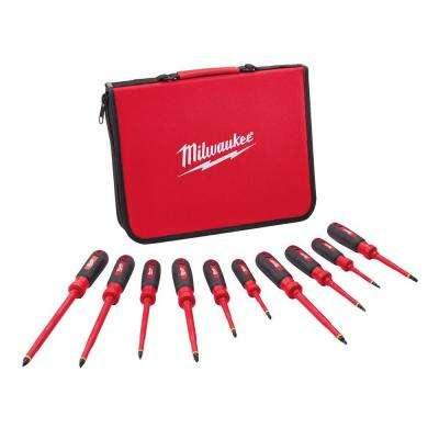 1000-Volt Insulated Screwdriver Set and Case (10-Piece)