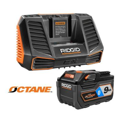 Ridgid 18-Volt OCTANE 9.0 Ah Lithium-Ion Battery and Charger Kit