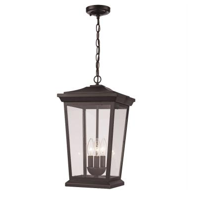 3-Light Black Outdoor Pendant Light with Clear Glass