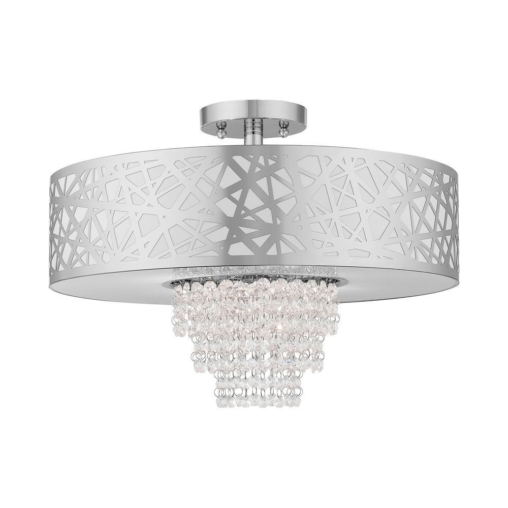 Allendale 18 in. 4-Light Polished Chrome Semi-Flush Mount Light