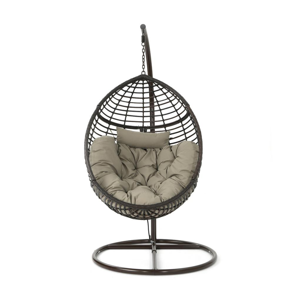 Noble House Multi Brown Steel Egg Shaped Patio Swing With Khaki Cushion