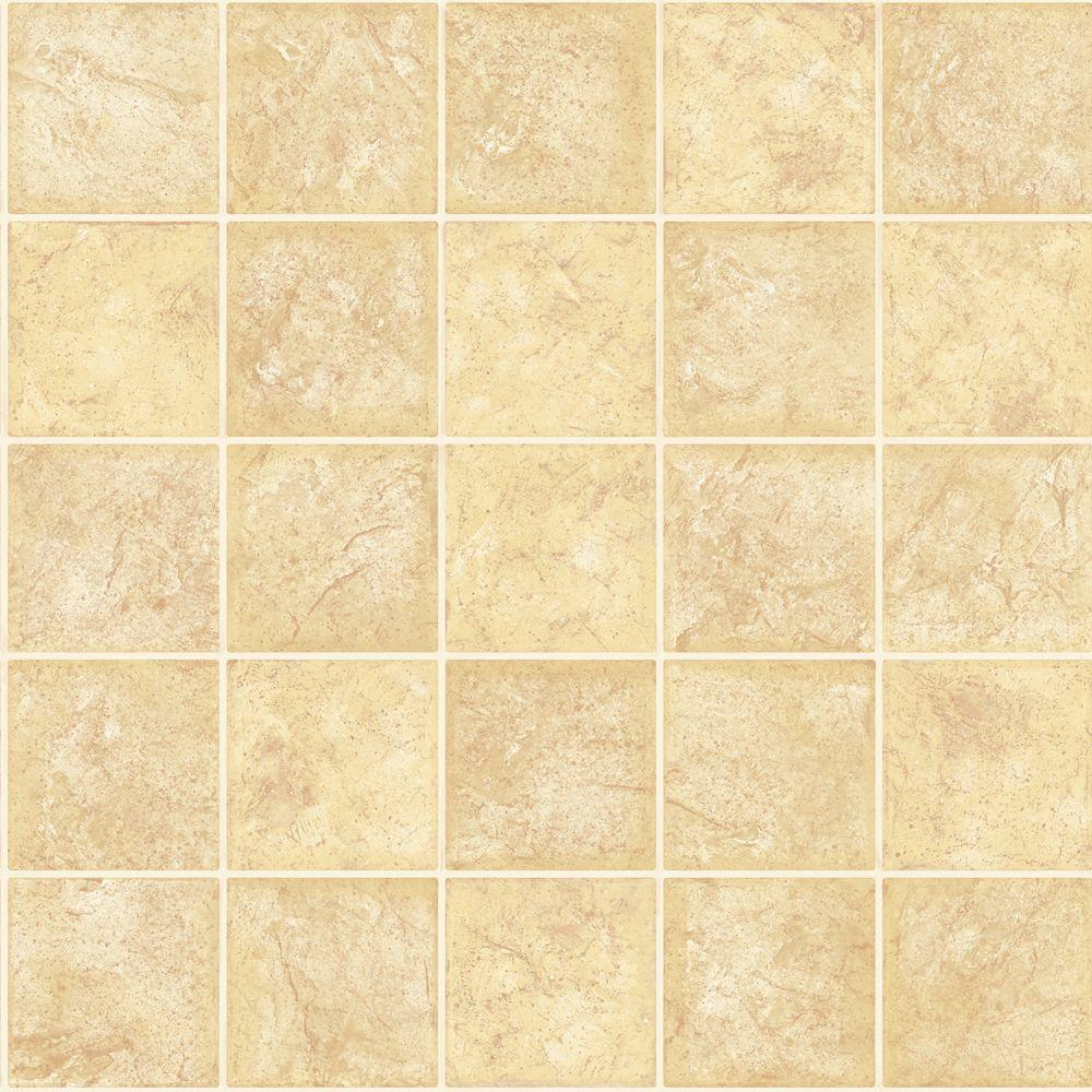 The Wallpaper Company 56 sq. ft. Yellow Ceramic Tile Wallpaper-DISCONTINUED