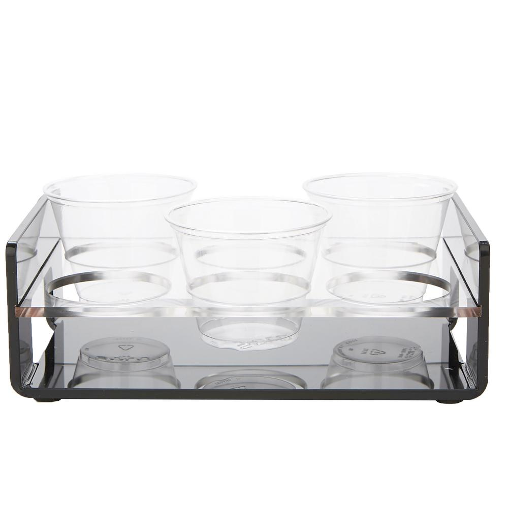 Black Acrylic 6 Slot Cup Holder Tray with Cutout Handles