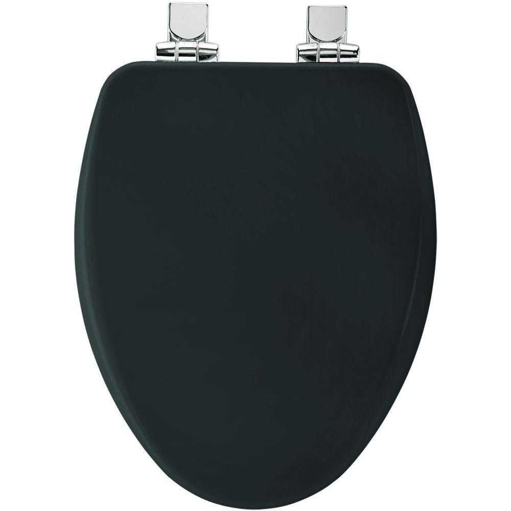 Church Elongated Closed Front Toilet Seat in Black