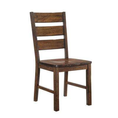Justeen Walnut Wood Ladder Side Chair (Set of 2)