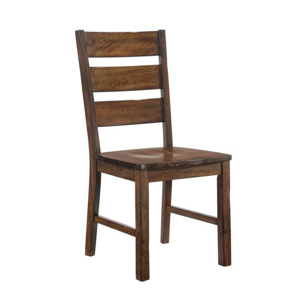 Furniture of America Justeen Walnut Wood Ladder Side Chair (Set of