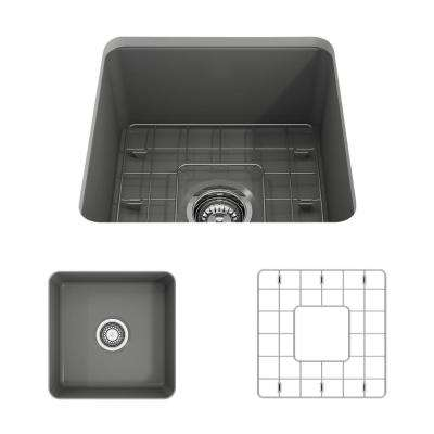 Sotto Undermount Fireclay 18 in. Single Bowl Kitchen Sink with Bottom Grid and Strainer in Matte Dark Gray