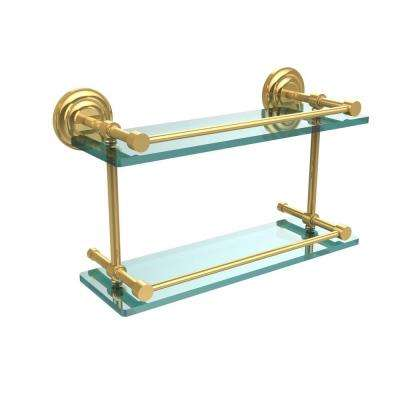 Que New 16 in. L x 8 in. H x 5 in. W 2-Tier Clear Glass Bathroom Shelf with Gallery Rail in Polished Brass