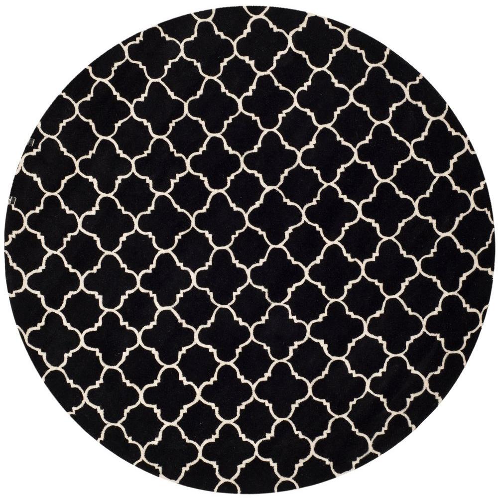 Safavieh Chatham Black/Ivory 7 ft. x 7 ft. Round Area Rug