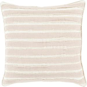 Aristaios Beige Striped Polyester 20 in. x 20 in. Throw Pillow