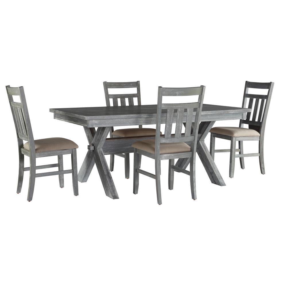 Powell Company Turino 5-Piece Gray Oak Stain and Tan Dining (Set)