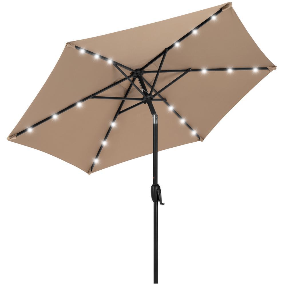 7.5 ft. Market Solar Tilt Patio Umbrella in Tan
