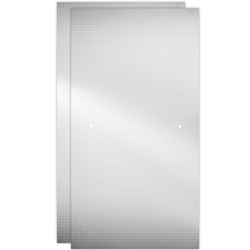 29-1/32 in. x 67-3/4 in. x 1/4 in. Frameless Sliding Shower Door Glass Panels in Droplet (1-Pair for 50-60 in. Doors)