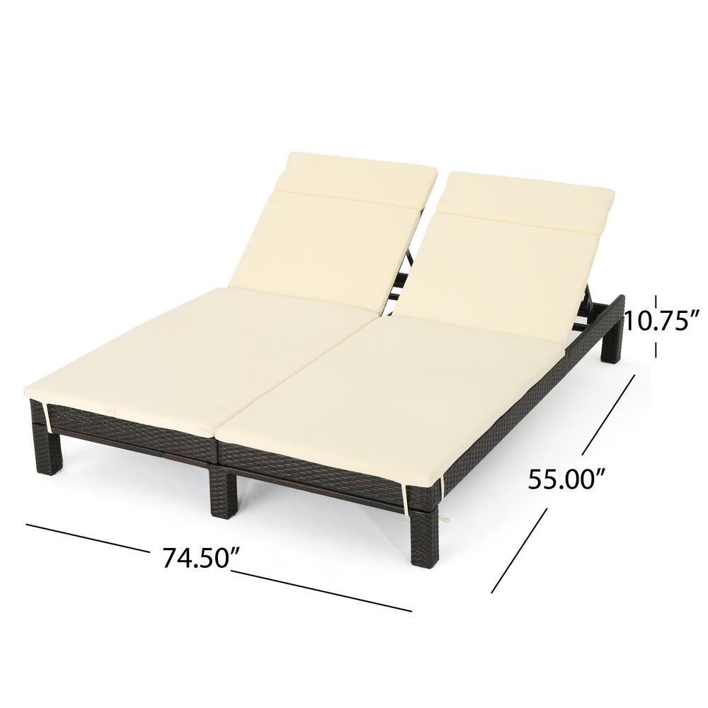 - Noble House Multi-Brown Wicker Outdoor Double Chaise Lounge With Beige  Cushion 12289 - The Home Depot