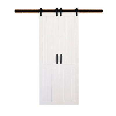 36 in. x 84 in. Vertical Plank Solid Primed Wood Split Barn Door with Hardware Kit