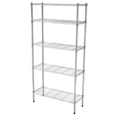 5 Shelf 72 in. H x 36 in. W x 14 in. D Wire Unit in Chrome