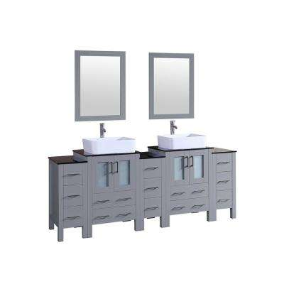 Bosconi 84 in. W Double Bath Vanity in Gray with Vanity Top in Black with White Basin and Mirror
