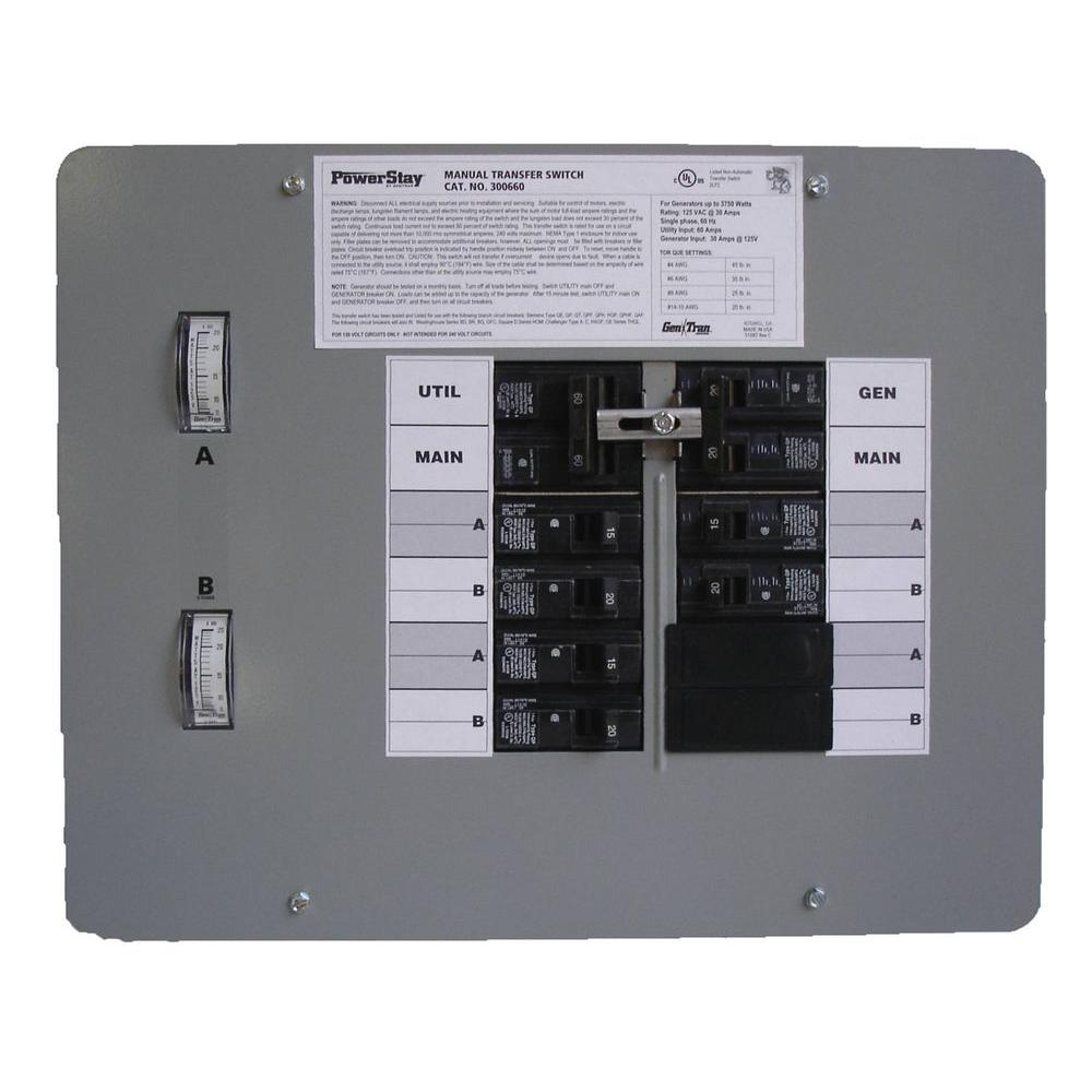GenTran 30 Amp 125 Volt 3750-Watt Indoor Manual Transfer Switch for 6-16 Circuits-DISCONTINUED