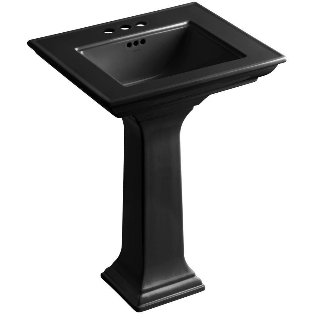 Memoirs Stately Ceramic Pedestal Bathroom Sink Combo in Black Black with Overflow Drain