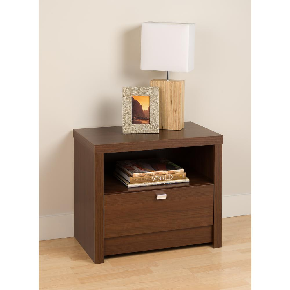 Prepac Series 9 1-Drawer Medium Brown Walnut Nightstand