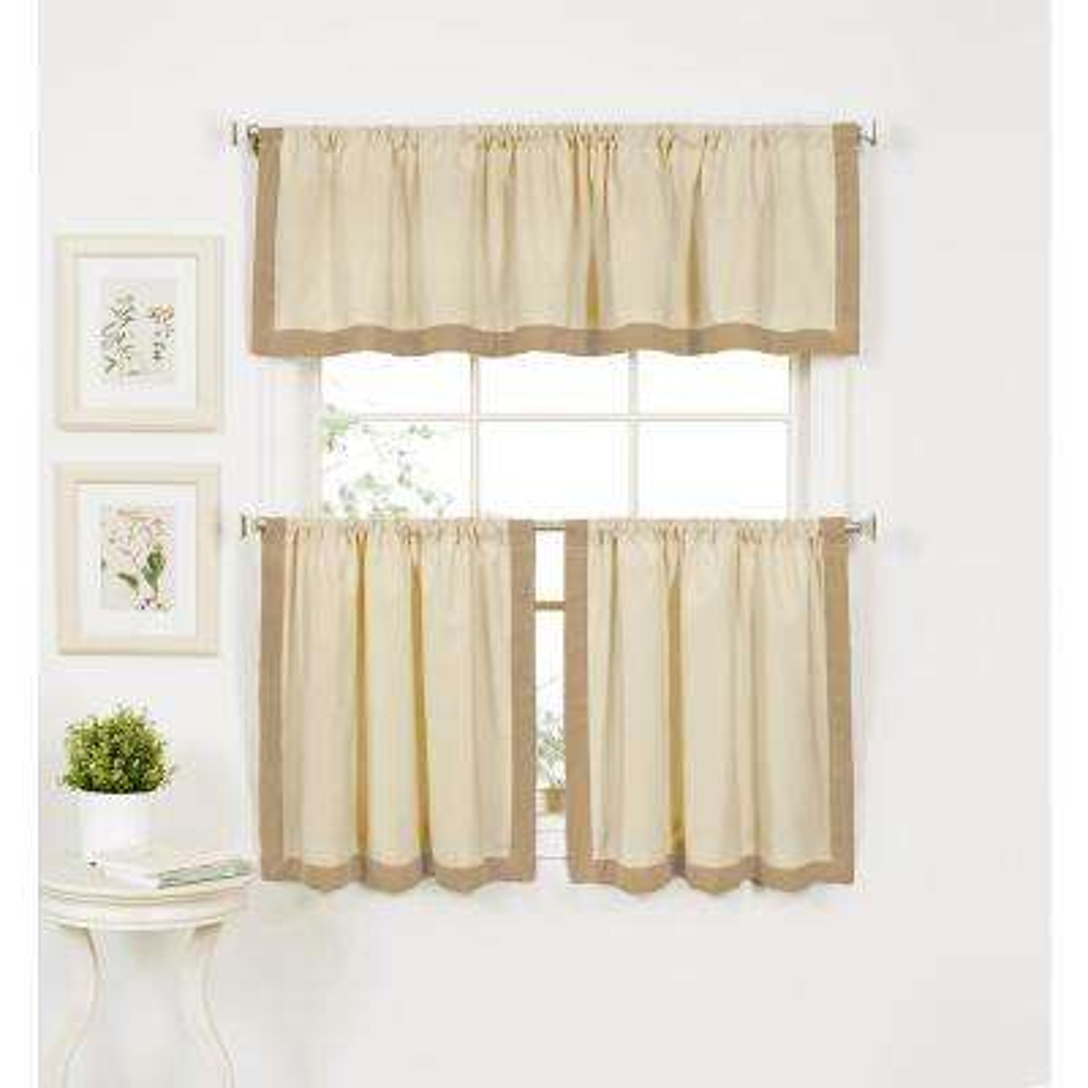 Wilton 60 in. W x 15 in. L Cotton Single Window Curtain Valance in Linen