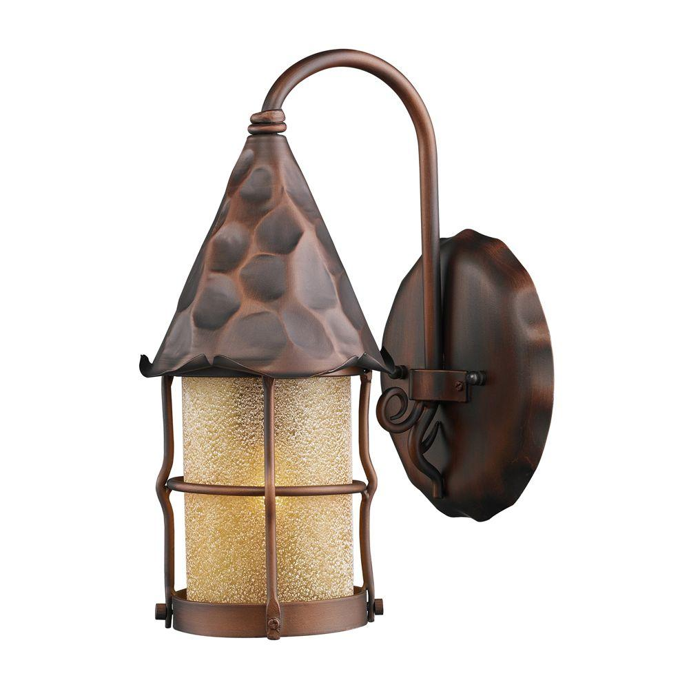 An Lighting Rustica 1 Light Wall Mount Outdoor Antique Copper Lantern Sconce