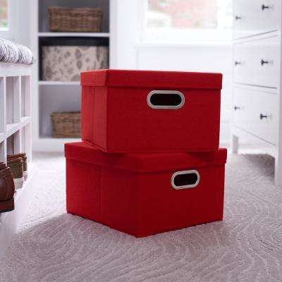 13 in. x 8 in. Tomato Linen Bin Set 2-pack