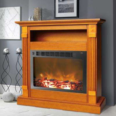 Sienna 34 in. Electric Fireplace in Teak