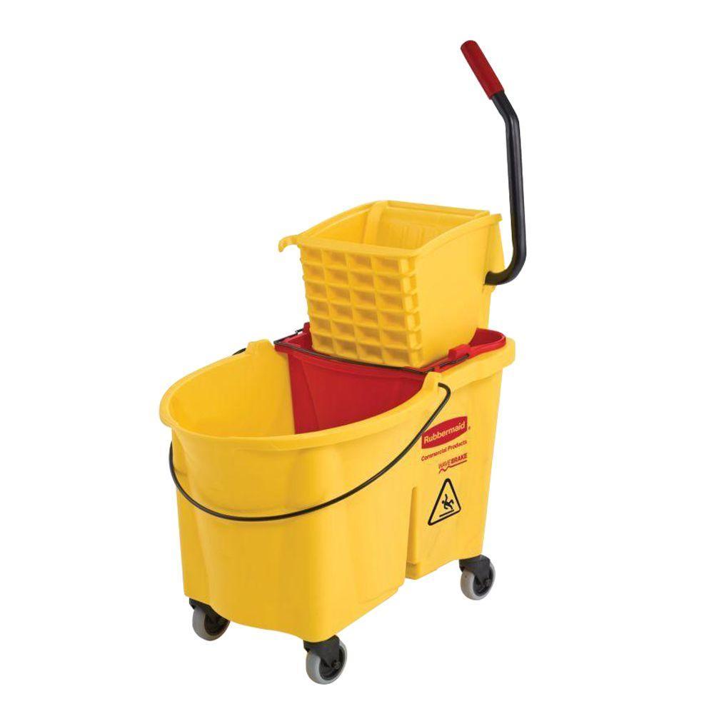 Rubbermaid 44 Qt. Yellow WaveBrake Side Press Mop Bucket ...