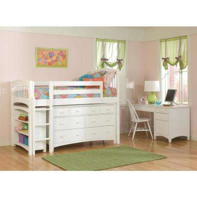 Windsor White Twin Low Loft Storage Bed with Essex 7-Drawer Dresser and Bookcase