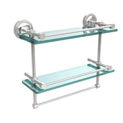 16 in. L  x 12 in. H  x 5 in. W 2-Tier Gallery Clear Glass Bathroom Shelf with Towel Bar in Polished Chrome