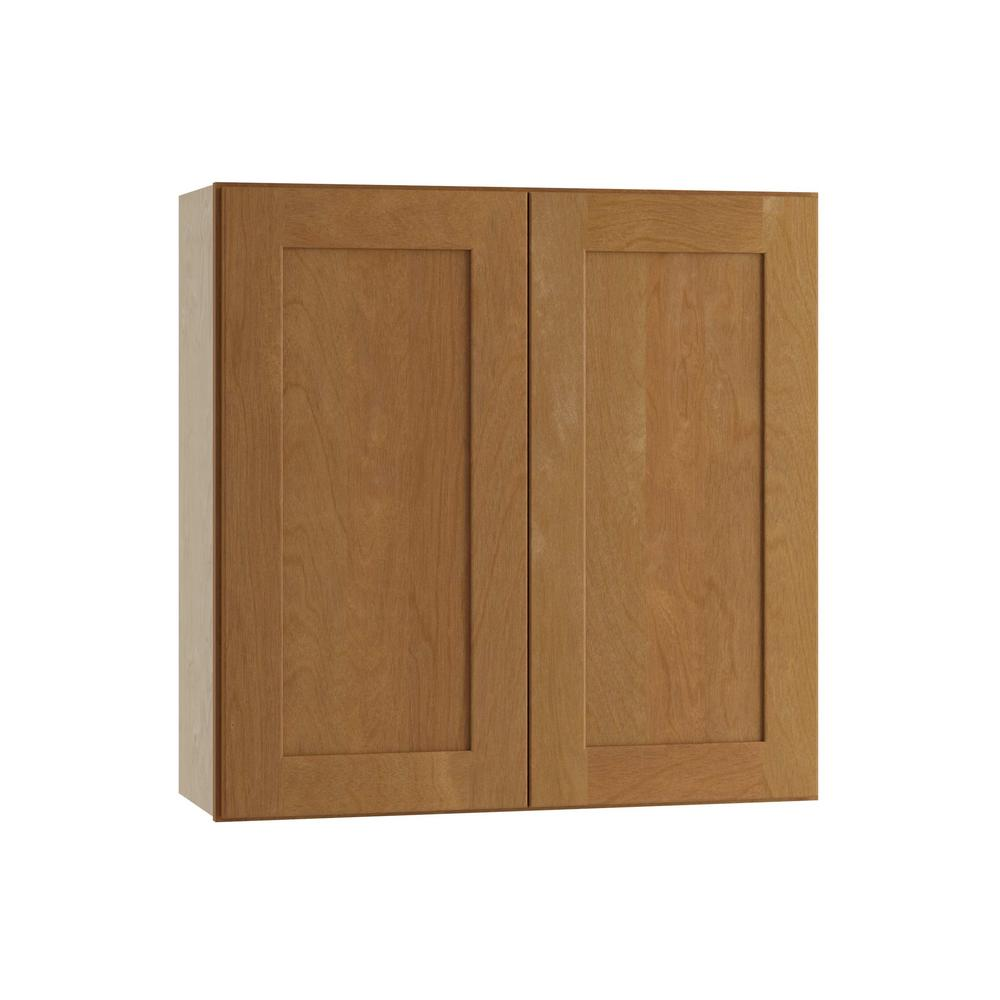 Home Decorators Collection Hargrove Assembled 33x30x12 in. Double Door Wall Kitchen Cabinet in Cinnamon