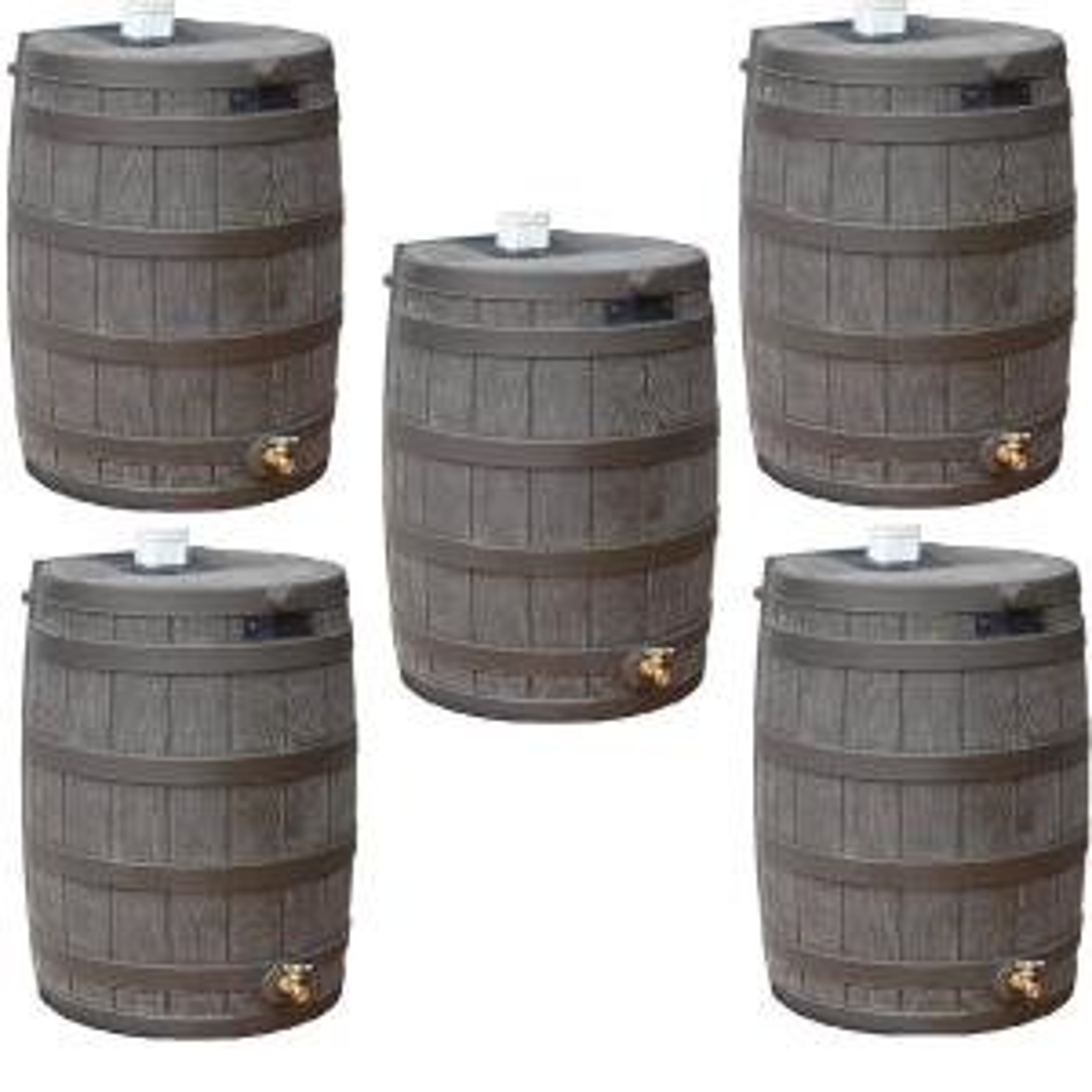 Rain Wizard 50 Gal. Plastic Rain Barrel with Brass Spigot (5-Pack)