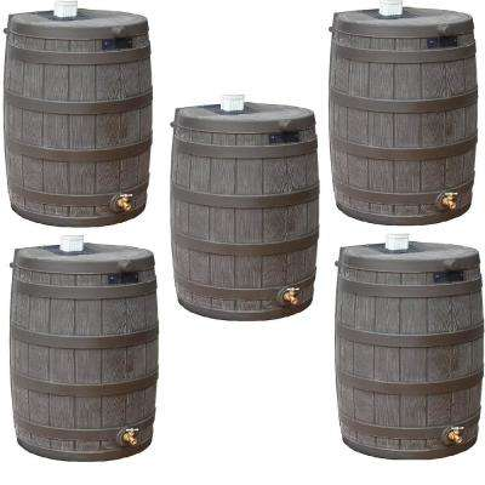 Rain Wizard 50 Gallon Plastic Rain Barrel with Brass Spigot (5 Pack)