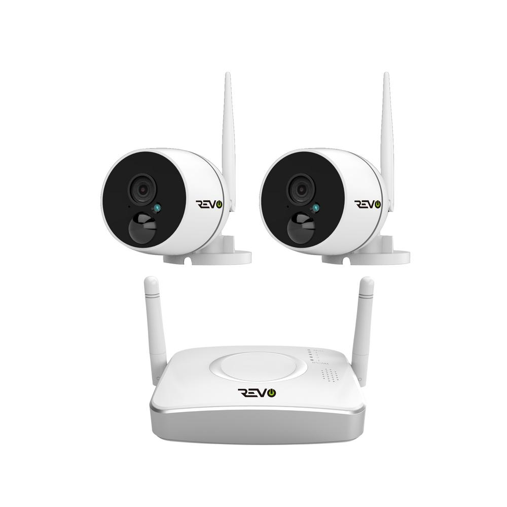 Revo Wireless HD 4-Channel Smart Gateway Surveillance System 32GB SD Card with 2 Full-HD 1080p Audio Capable Bullet Cameras