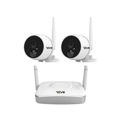 Wireless HD 4-Channel Smart Gateway Surveillance System 32GB SD Card with 2 Full-HD 1080p Audio Capable Bullet Cameras