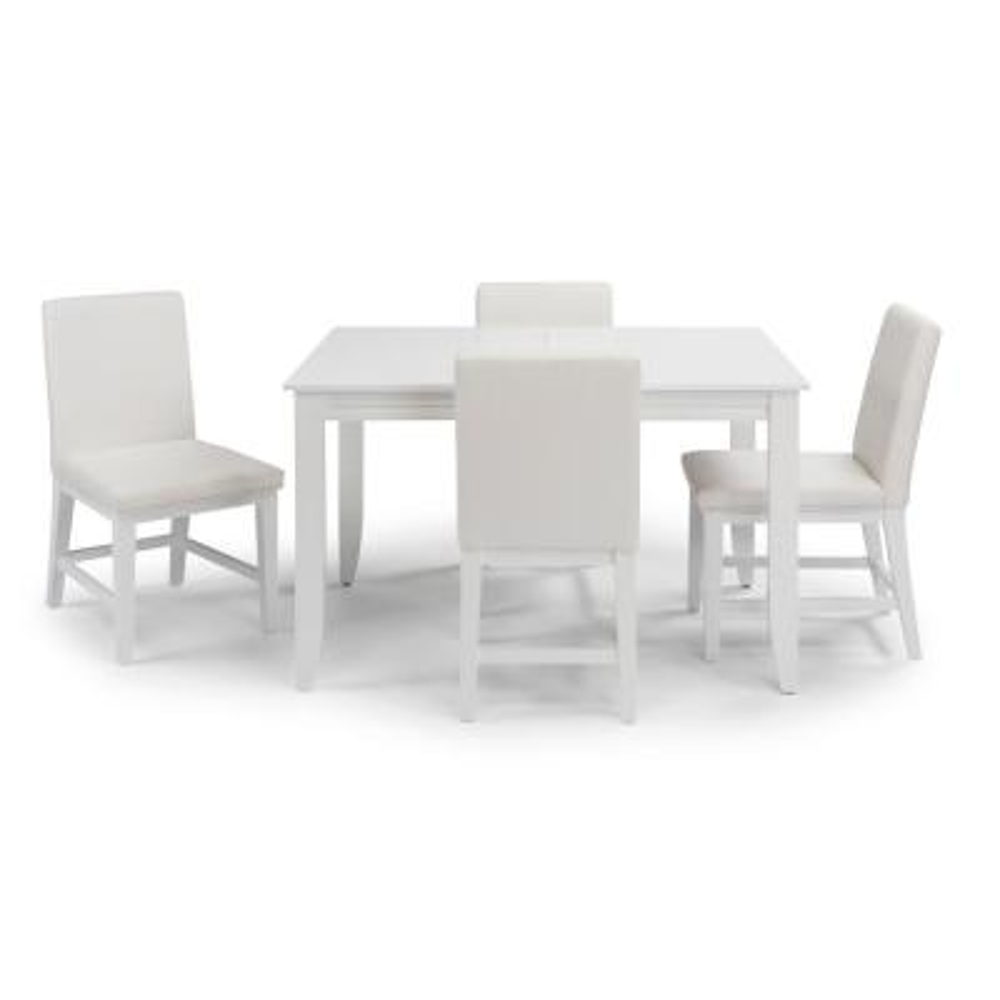 Linear 5 Piece White Rectangular Dining Set
