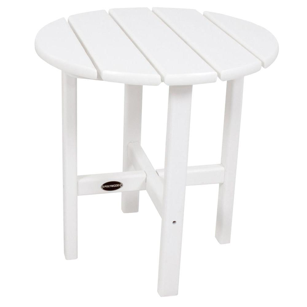 White Round Patio Side Table Rst18wh The Home Depot