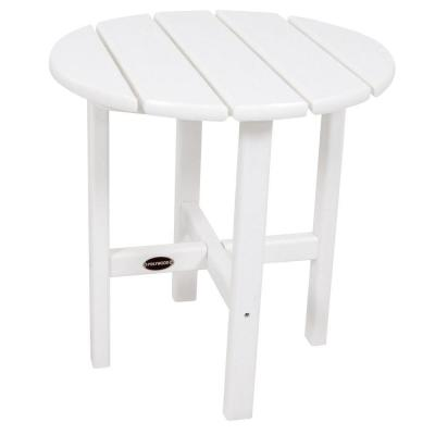 18 in. White Round Patio Side Table