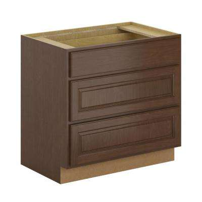 Madison Assembled 36x34.5x24 in. Pots and Pans Drawer Base Cabinet in Cognac