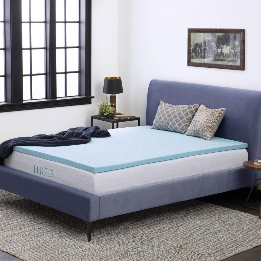 home depot mattress topper Lucid 2 in. Twin XL Gel Infused Memory Foam Mattress Pad  home depot mattress topper