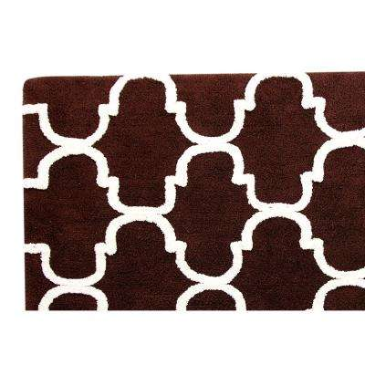 50 in. x 30 in. Bath Rug in Chocolate/Ivory